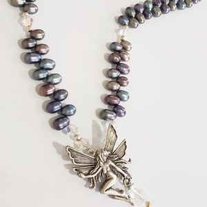 Sterling Silver Fairy & Freshwater Pearl Necklace